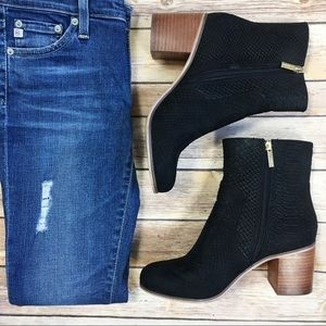 Topshop Snakeskin Wood Block Heel Booties